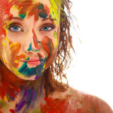 Portrait of girl soiled in paint Royalty Free Stock Photos