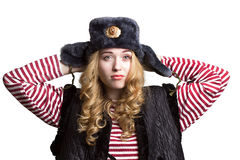 Portrait of a girl in a soldier's cap Royalty Free Stock Images