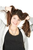 A portrait of girl in sportswear with long hair Royalty Free Stock Photography