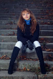 Portrait of a girl on the stairs Royalty Free Stock Photography