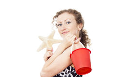 Portrait of a girl with a starfish Stock Images