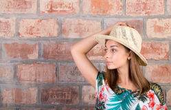 Portrait of a girl in a straw hat Royalty Free Stock Photography
