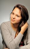 Portrait of the girl in studio. Portrait of the young nice haired girl in studio Stock Photo