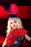 Portrait of a girl in the style of Moulin Rouge. Girl in the clothes of past years in style Cabaret Moulin Rouge Stock Photography