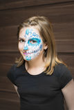 Portrait of girl with sugar skull make up Royalty Free Stock Images