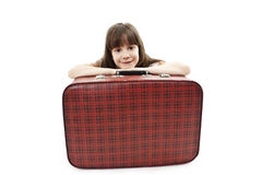 Portrait of the girl with suitcase Stock Photography