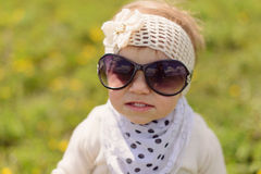 Portrait of Girl in Sun Glasses Royalty Free Stock Photography
