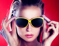 Portrait of girl with sunglasses. Stock Photos