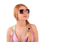 Portrait of a girl in sunglasses. Portrait of a girl in a dress and sunglasses royalty free stock images