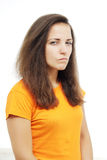 Portrait girl with suspicious emotion. Stock Images