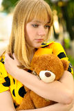 Portrait of girl with teddy bear Royalty Free Stock Image