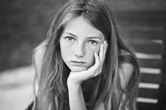 Portrait of a girl - teen with freckles stock photos