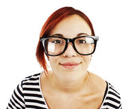 Portrait of a girl teenager in a big black glasses Royalty Free Stock Photo