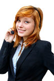 Portrait of a girl telecommunications operator on a white backgr Royalty Free Stock Photos