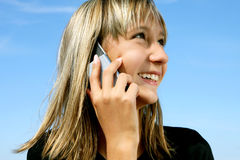 Portrait of the girl with telephone Stock Photos