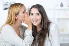 Portrait girl telling secrets to amazed friend. Portrait of a girl telling secrets to her amazed friend Royalty Free Stock Image