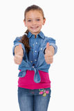 Portrait of a girl with the thumbs up Royalty Free Stock Images