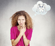 Portrait of a girl with toothache, teeth pain royalty free stock photography