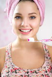 Portrait of girl with toothbrush Stock Images