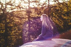 Girl on top of Quarry Rock at North Vancouver, BC, Canada Stock Images