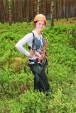 Portrait of the girl in tourist equipment Royalty Free Stock Image