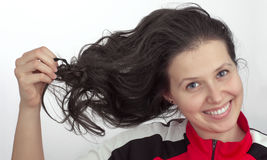 Portrait of a girl with tousled hair Stock Image
