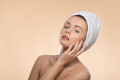 Portrait of girl with a towel on her head Stock Photography