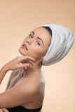 Portrait of girl with a towel on her head Stock Photo