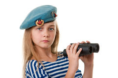 Portrait of the girl in the troop are taking, with binoculars in. Studio photography on a white background, vertical. Form of Russian and Soviet army Royalty Free Stock Images