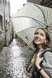 Portrait of the girl with umbrella royalty free stock photography