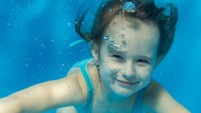 Portrait of a girl under the water. Royalty Free Stock Photography