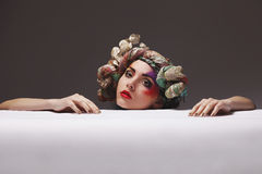 Portrait of a girl with an unusual make-up Royalty Free Stock Images