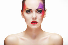 Portrait of a girl with an unusual make-up Stock Photography