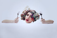 Portrait of a girl with an unusual make-up Royalty Free Stock Image