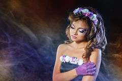Portrait of girl with unusual make-up Royalty Free Stock Photo