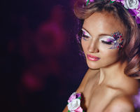Portrait of girl with unusual make-up Royalty Free Stock Photography