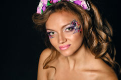 Portrait of girl with unusual make-up Stock Images