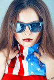 Portrait of a girl with the USA flag Royalty Free Stock Photography