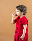 Portrait of a girl using asthma inhaler  Royalty Free Stock Images