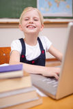 Portrait of a girl using a notebook Royalty Free Stock Photography