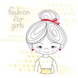 Portrait of a girl vector illustration Royalty Free Stock Photos
