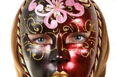 Portrait of a girl in the venetian masks Royalty Free Stock Photography