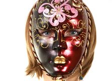 Portrait of a girl in the venetian masks Stock Images