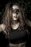 Portrait.Girl.Veni ce carnival mask Close-up female portrait.in Royalty Free Stock Images
