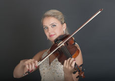 Portrait of a girl violinist Royalty Free Stock Image
