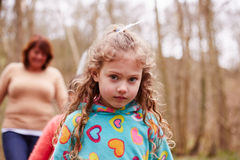 Portrait Of Girl On Walk In Forest With Mother Royalty Free Stock Photos