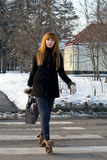 Portrait of a girl walking in park Royalty Free Stock Photography
