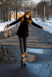 Portrait of a girl walking in park Stock Images