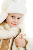 Portrait of girl in warm clothes smiling Stock Photos