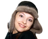 Portrait of girl in warm hat Stock Image